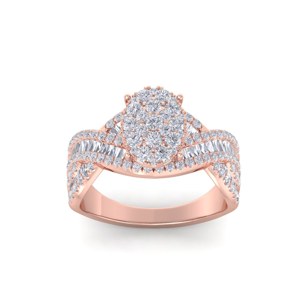 Oval ring in rose gold with white diamonds of 1.18 ct in weight