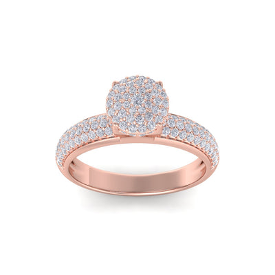 Cluster solitaire ring in rose gold with white diamonds of 0.71 ct in weight