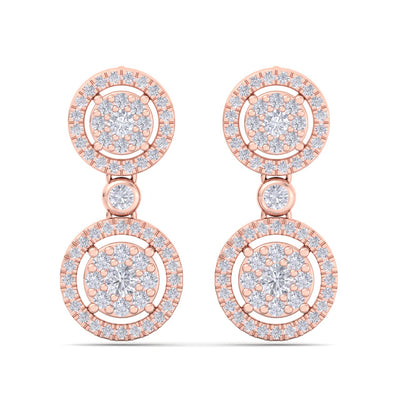Elegant round drop earrings in rose gold with white diamonds of 1.24 ct in weight - HER DIAMONDS®