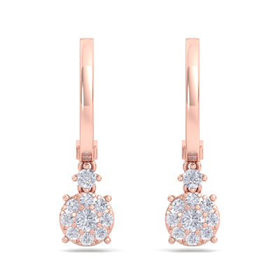 Elegant round drop earrings in rose gold with white diamonds of 0.44 ct in weight - HER DIAMONDS®