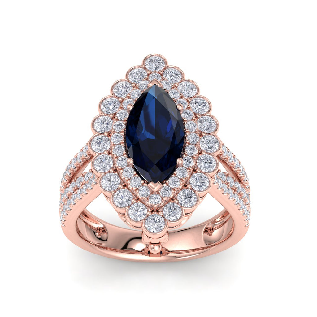 Marquise shaped ring and pendant in rose gold with sapphire and white diamonds of 1.78 ct in weight - HER DIAMONDS®