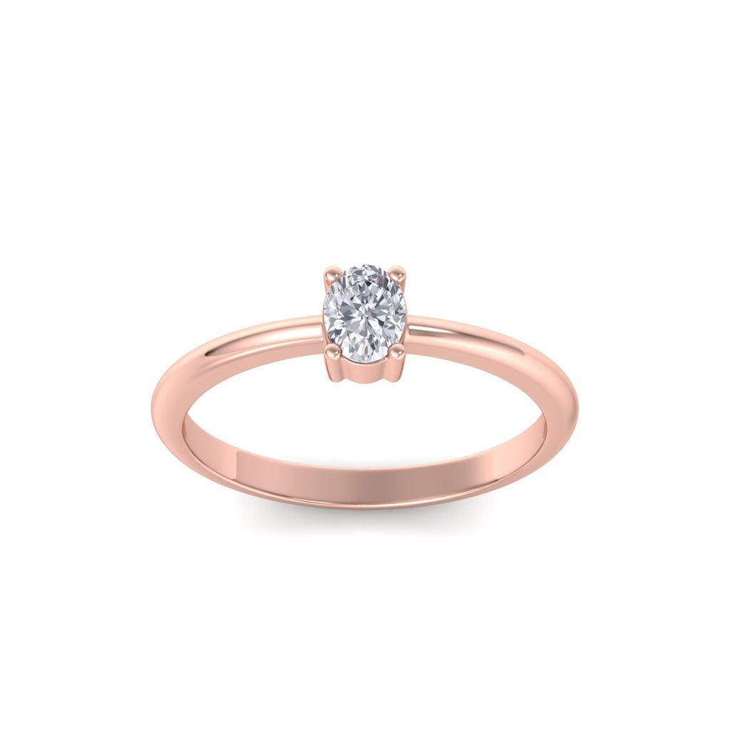 Oval shaped petite diamond ring in rose gold with white diamonds of 0.25 ct in weight