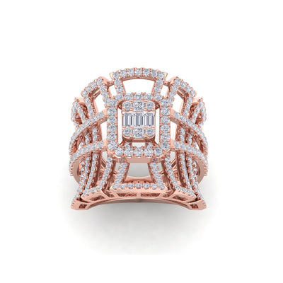 Statement ring in rose gold with white diamonds of 1.85 ct in weight - HER DIAMONDS®
