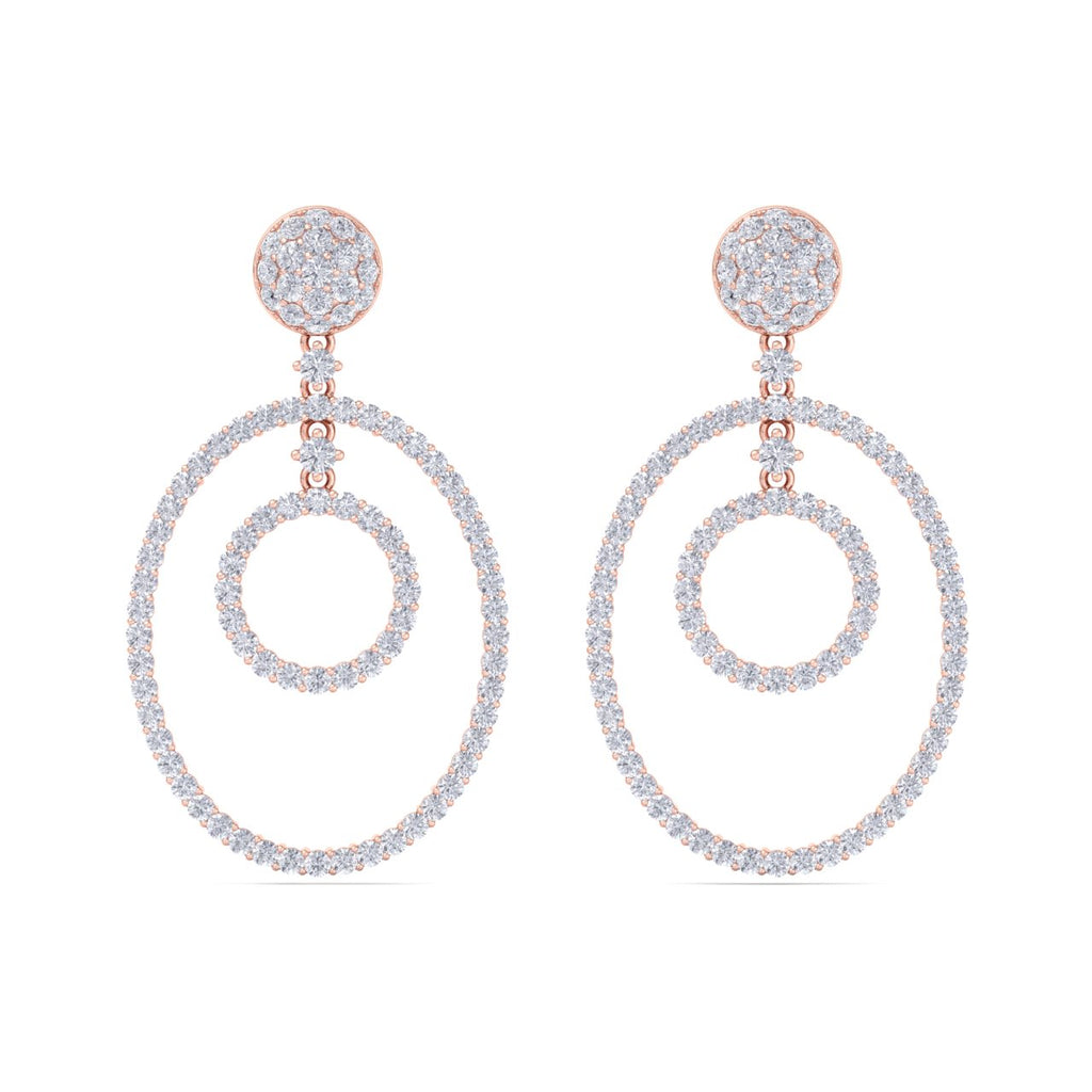 Chandelier earrings in rose gold with white diamonds of 4.97 ct in weight