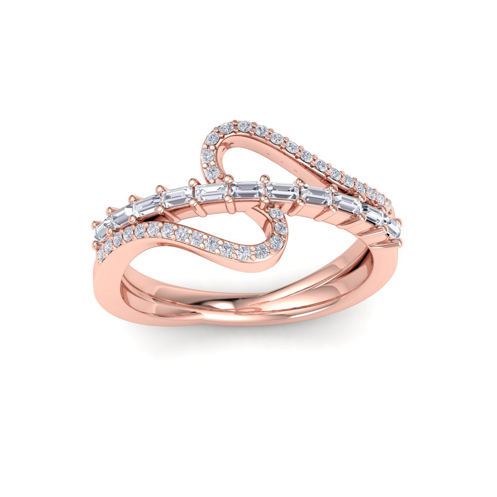 Ring in rose gold with white diamonds of 0.40 ct in weight
