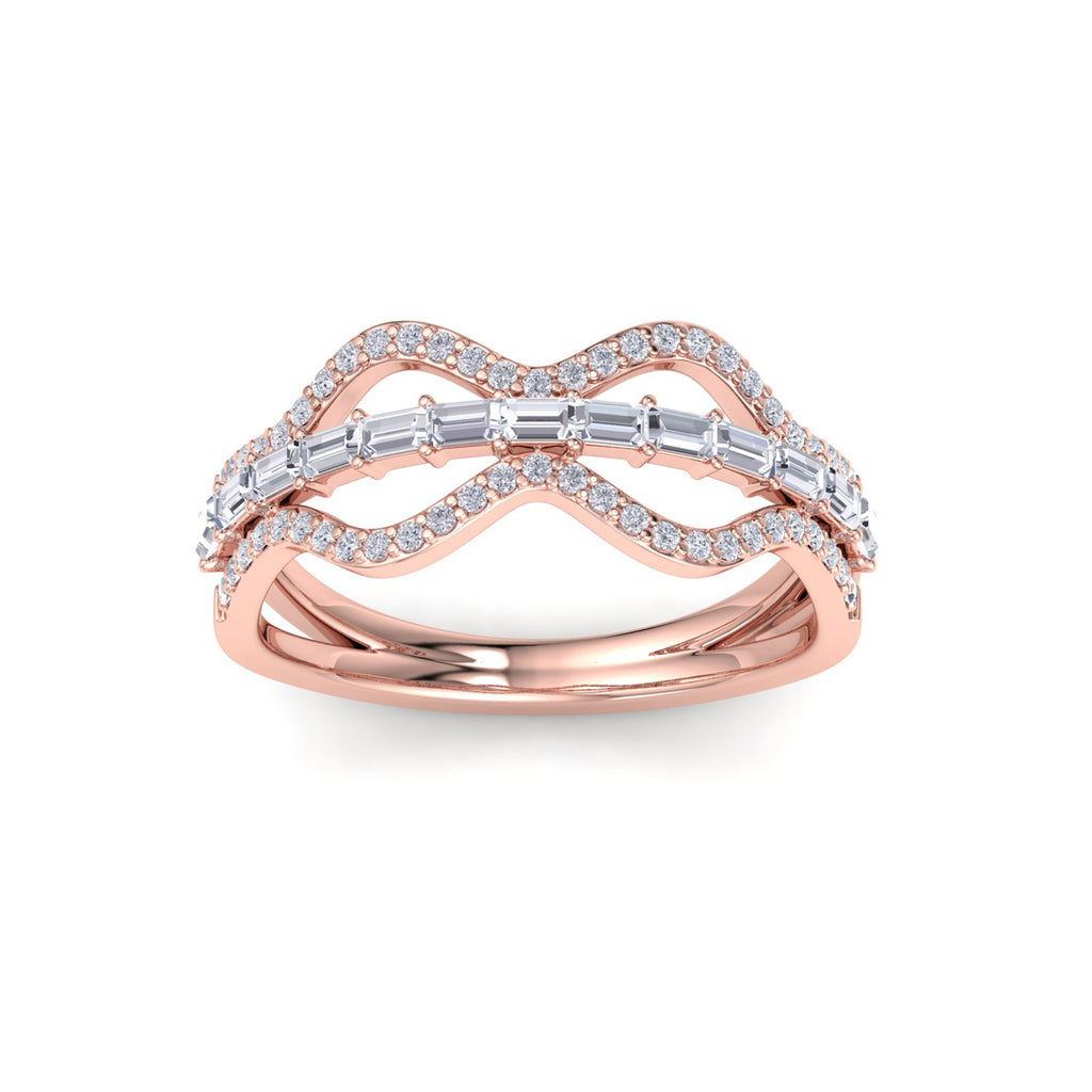 Ring in rose gold with white diamonds of 0.54 ct in weight