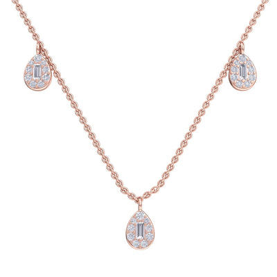 Pear drops necklace in rose gold with white diamonds of 0.70 ct in weight - HER DIAMONDS®