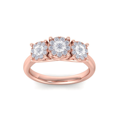 Three stones diamond ring with miracle plates in rose gold with white diamonds of 0.37 ct in weight