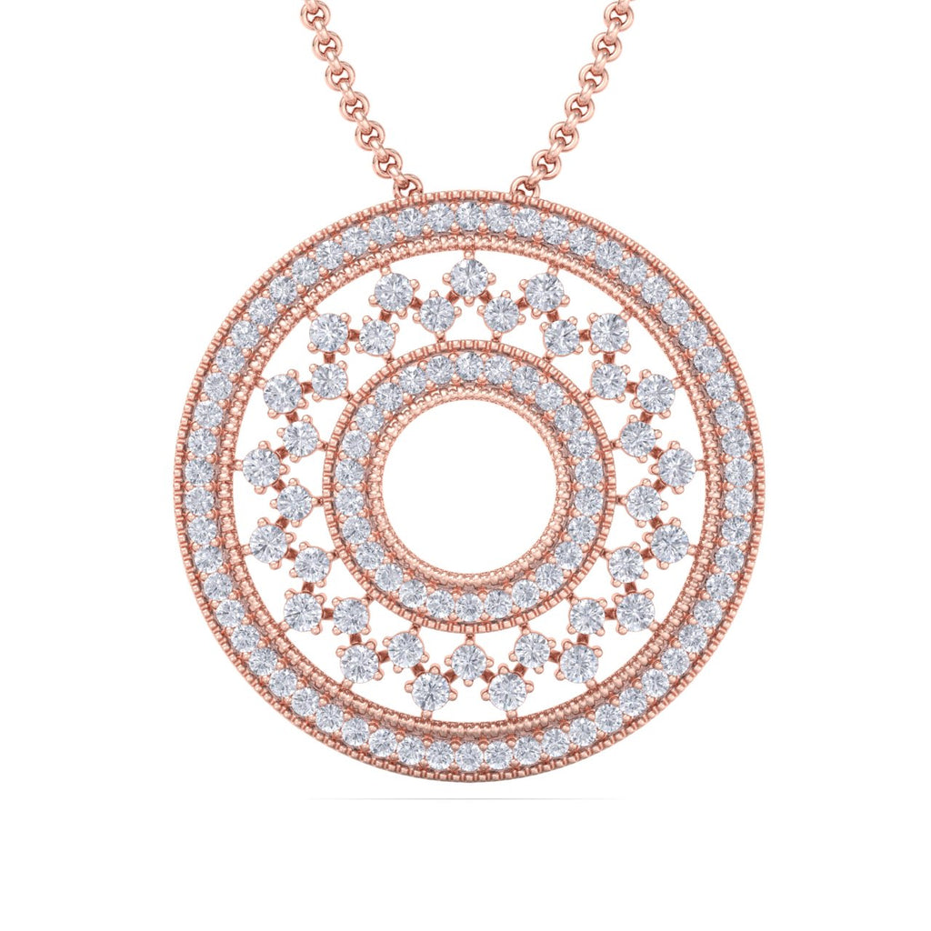 Exclusive round pendant in rose gold with white diamonds of 4.11 ct in weight