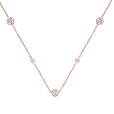 Necklace in rose gold with white diamonds of 0.72 ct in weight - HER DIAMONDS®