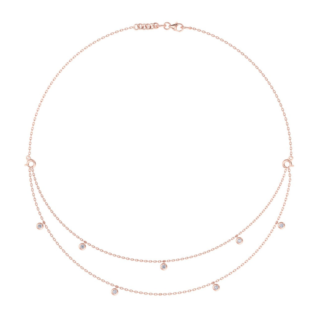 Combination necklace in rose gold with with diamonds of 0.26 ct in weight - HER DIAMONDS®