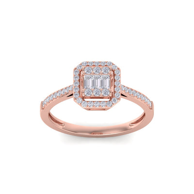 Square engagement ring in rose gold with white diamonds of 1.70 ct in weight