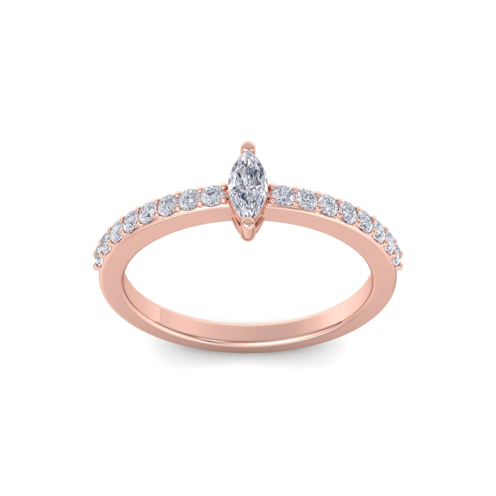 Petite marquise ring in rose gold with white diamonds of 0.44 ct in weight