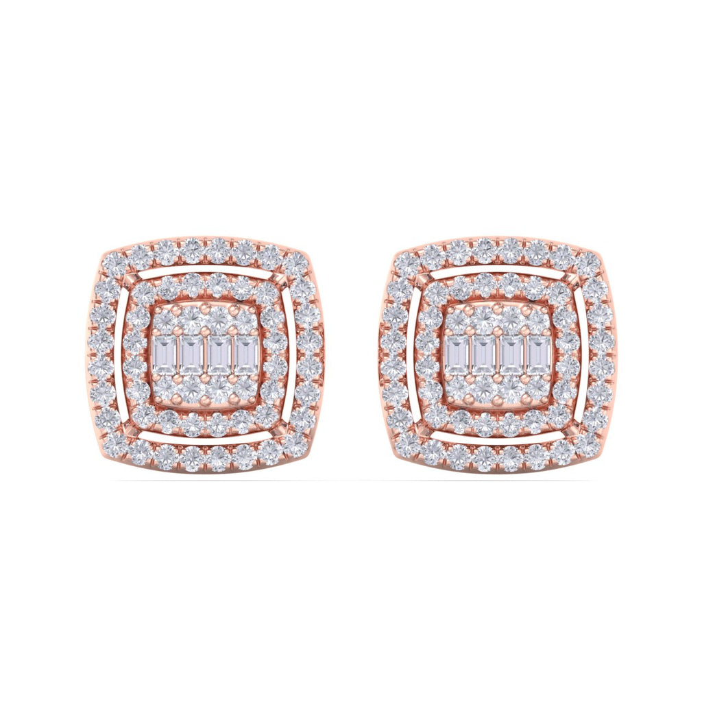 Square stud earrings in rose gold with white diamonds of 0.67 ct in weight