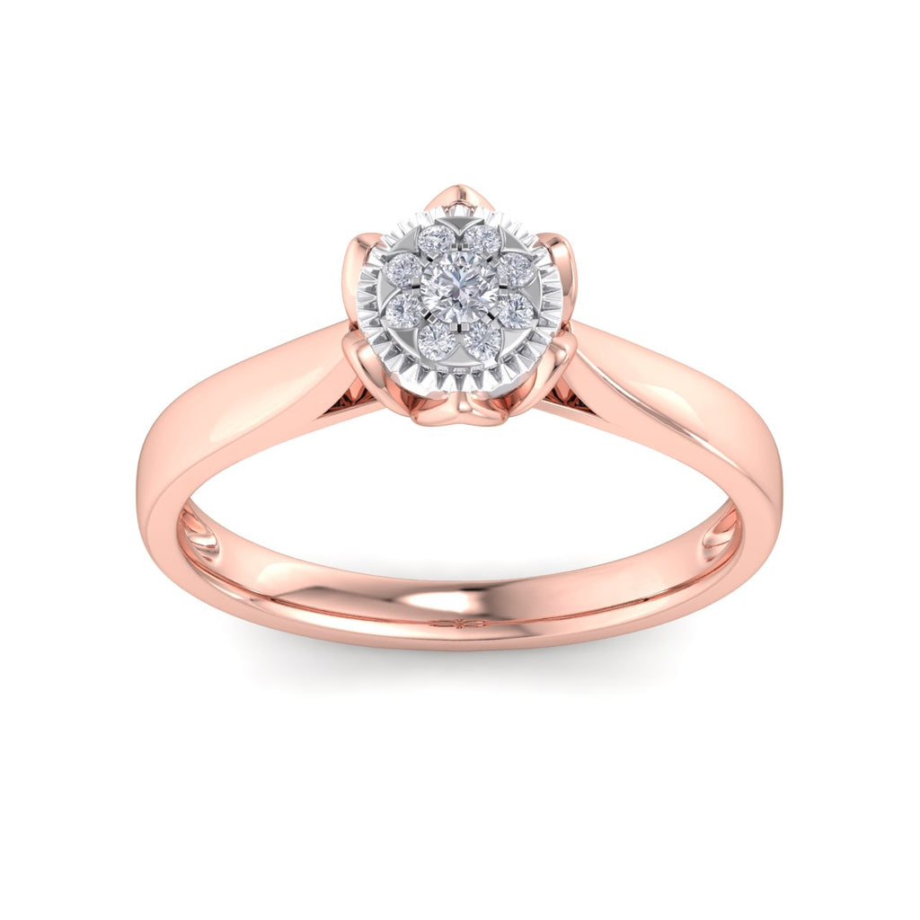 Ring in rose gold with white diamonds of 0.14 ct in weight in a crown setting