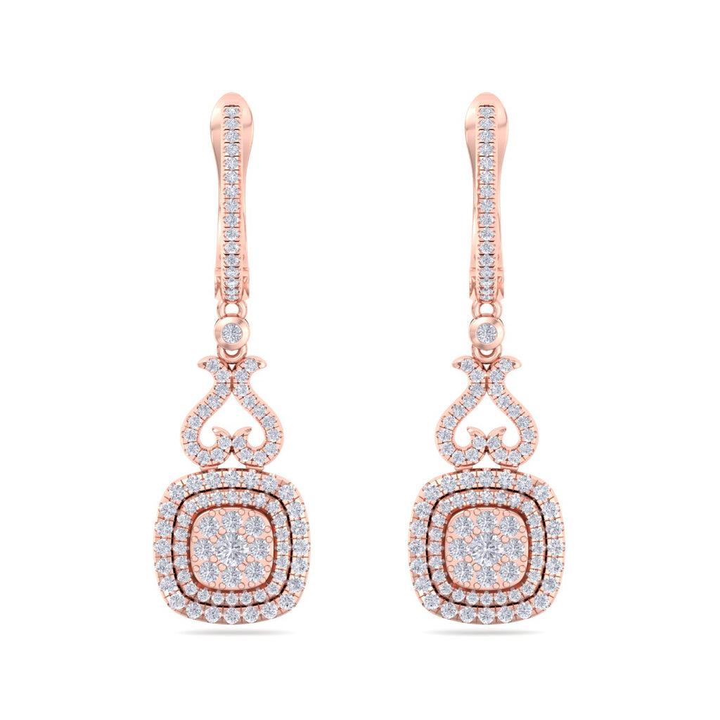 Square heart earrings in rose gold with white diamonds of 0.89 ct in weight - HER DIAMONDS®