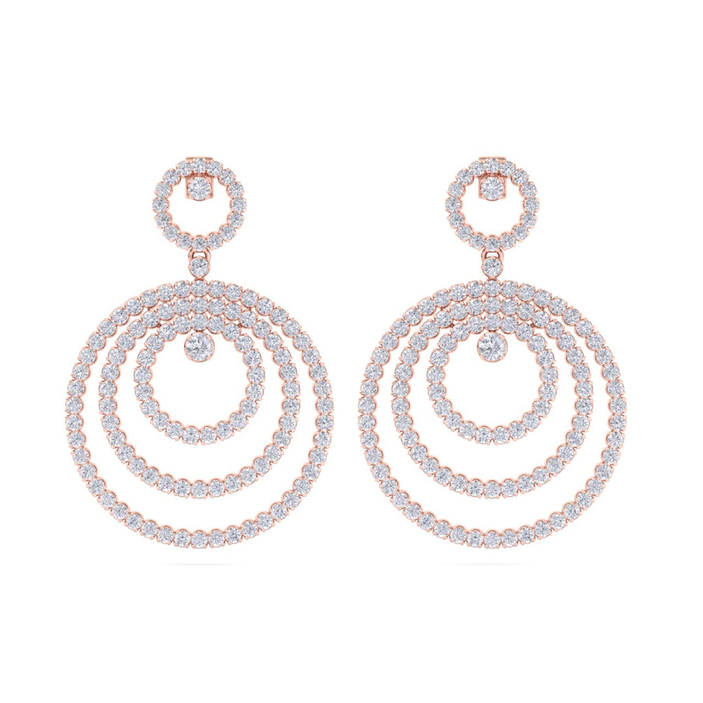 Chandelier earrings in rose gold with white diamonds of 8.44 ct in weight