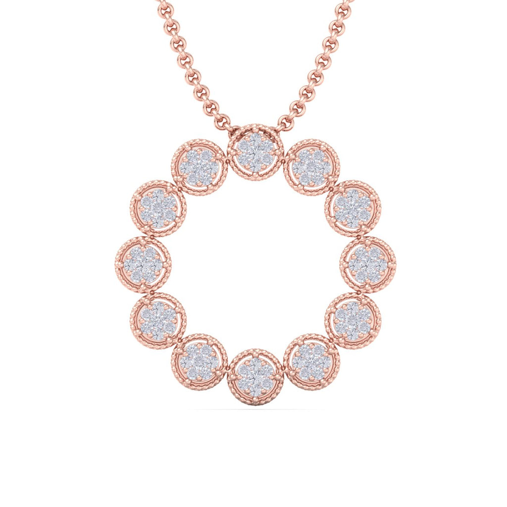 Round pendant in rose gold with white diamonds of 1.44 ct in weight