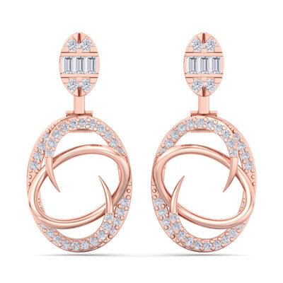 Elegant earrings in rose gold with white diamonds of 0.70 ct in weight - HER DIAMONDS®