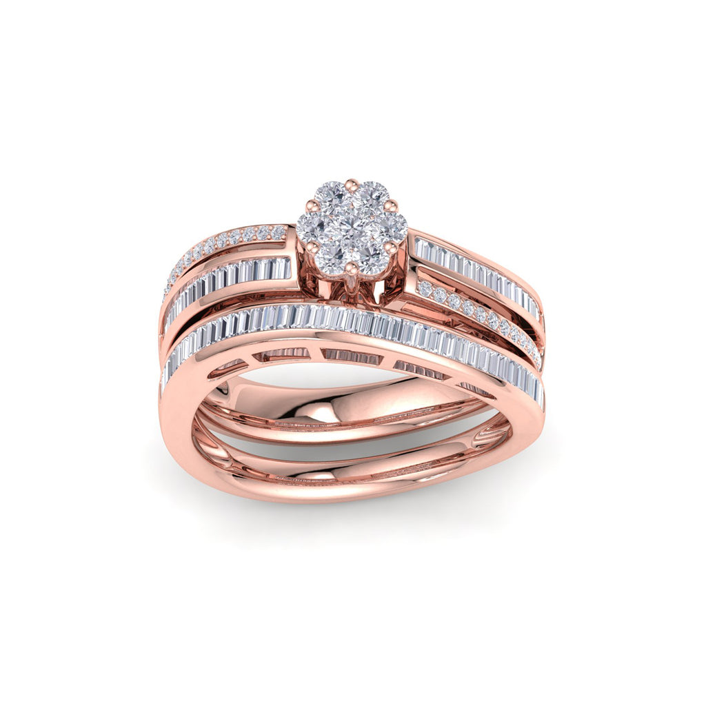 Curved bridal ring set in rose gold with white diamonds of 0.74 ct in weight