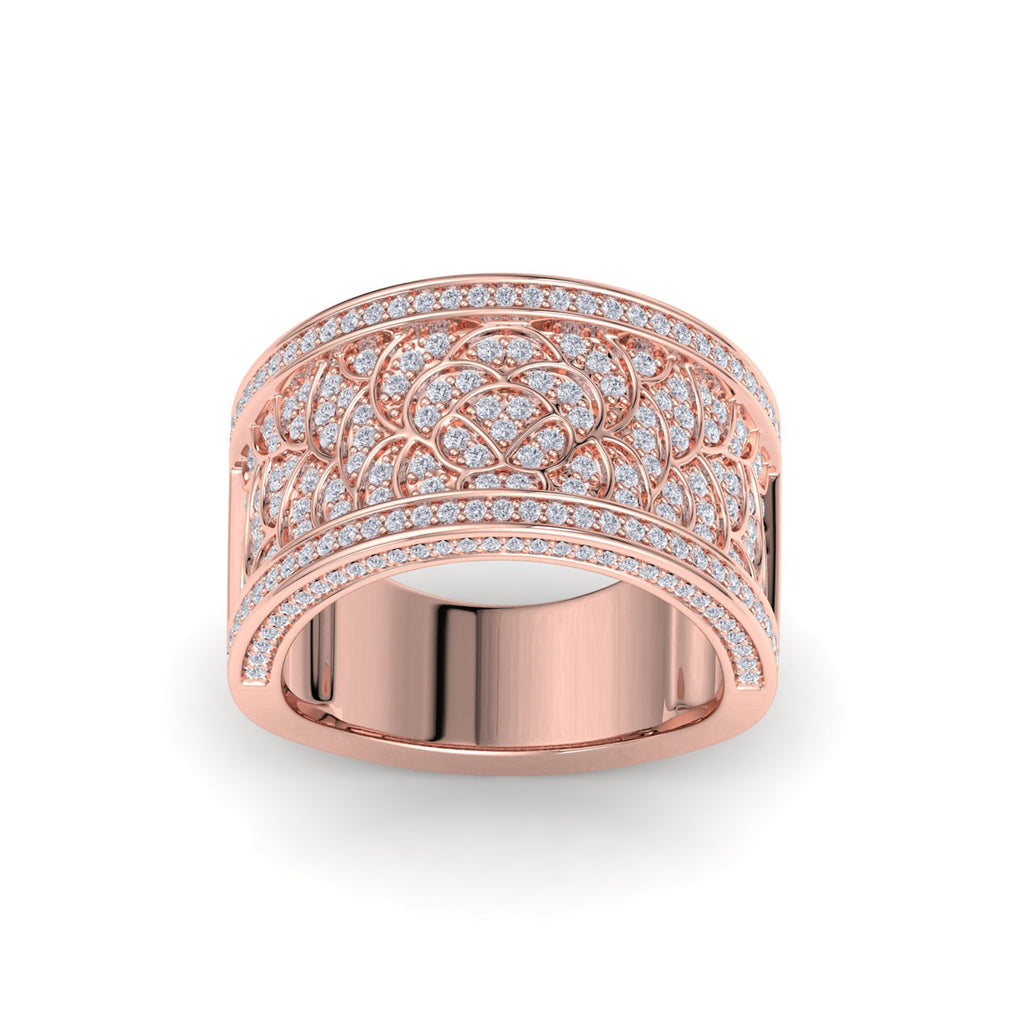 Wide ring in rose gold with white diamonds of 0.82 ct in weight