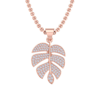 Leaf pendant in rose gold with white diamonds of 0.58 ct in weight
