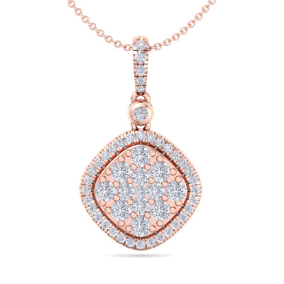 Square pendant in rose gold with white diamonds of 0.74 ct in weight - HER DIAMONDS®