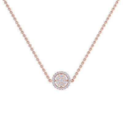 Circle necklace in rose gold with white diamonds of 0.33 ct in weight - HER DIAMONDS®