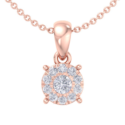 Classic round pendant in rose gold with white diamonds of 0.17 ct in weight - HER DIAMONDS®