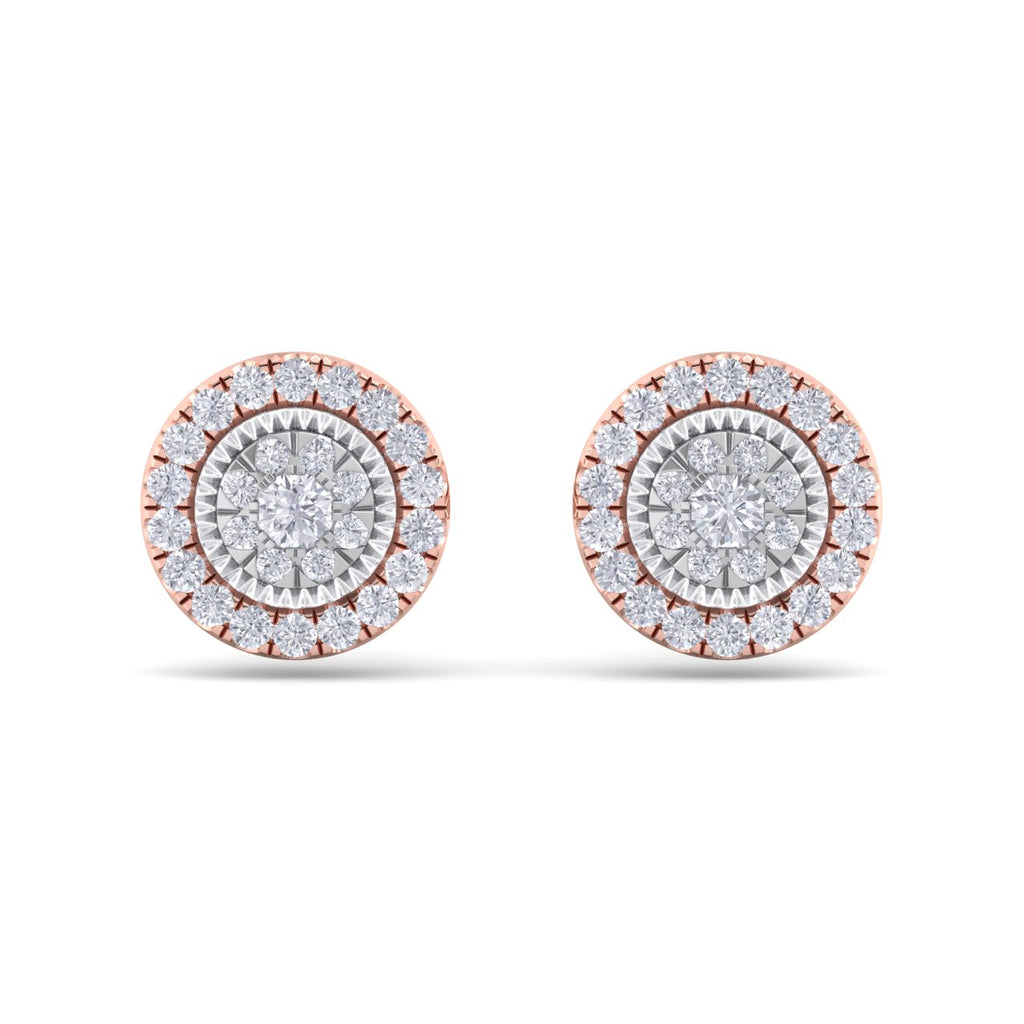 Round stud earrings in rose gold with white diamonds of 0.55 ct in weight