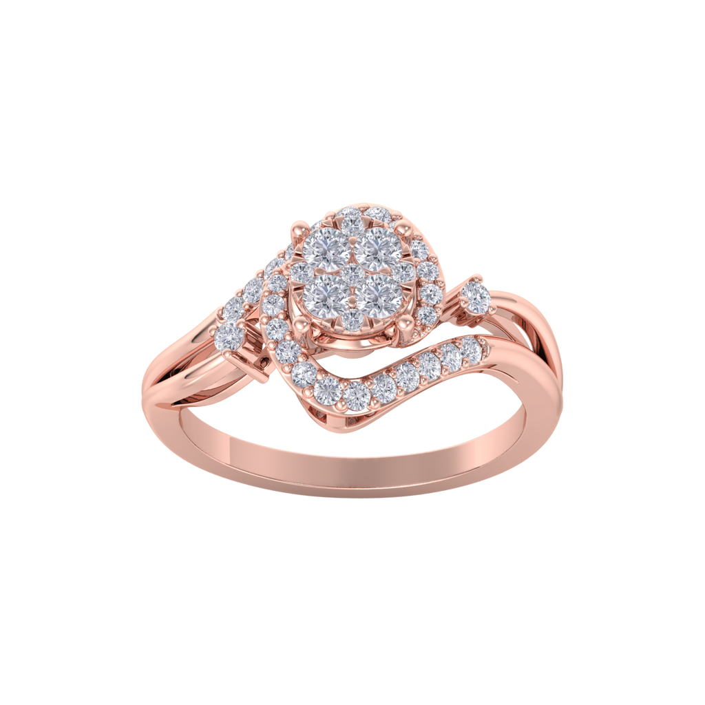 Engagement ring in rose gold with white diamonds of 0.26 ct in weight