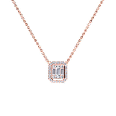 Square necklace in rose gold with white diamonds of 0.37 ct in weight - HER DIAMONDS®