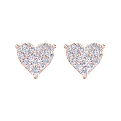 Heart earrings in rose gold with white diamonds of 1.44 ct in weight