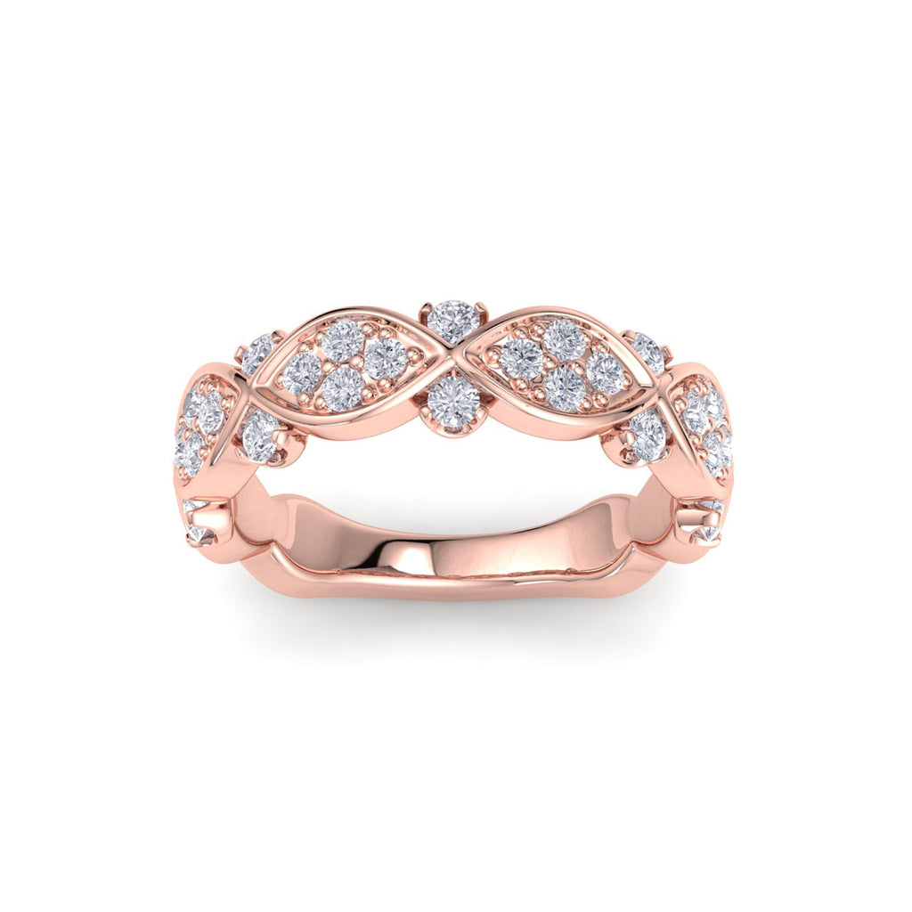 Marquise and dot ring in rose gold with white diamonds of 0.77 ct in weight