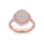 Square ring in rose gold with white diamonds of 0.89 ct in weight