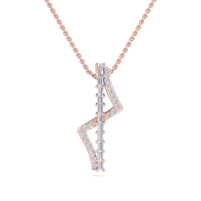 Lightning necklace in rose gold with white diamonds of 0.60 ct in weight - HER DIAMONDS®