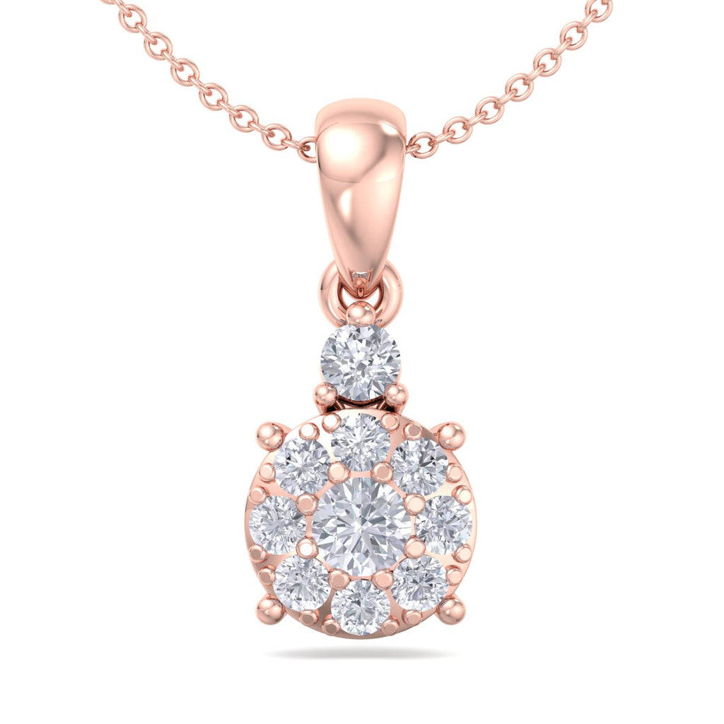 Elegant round pendant in rose gold with white diamonds of 0.25 ct in weight - HER DIAMONDS®