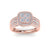 Square halo ring in rose gold with white diamonds of 1.63 ct in weight