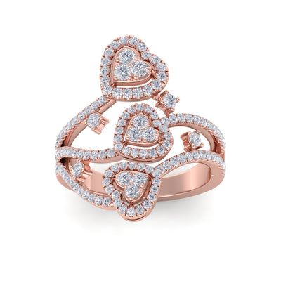 Heart statement ring in rose gold with white diamonds of 1.03 ct in weight