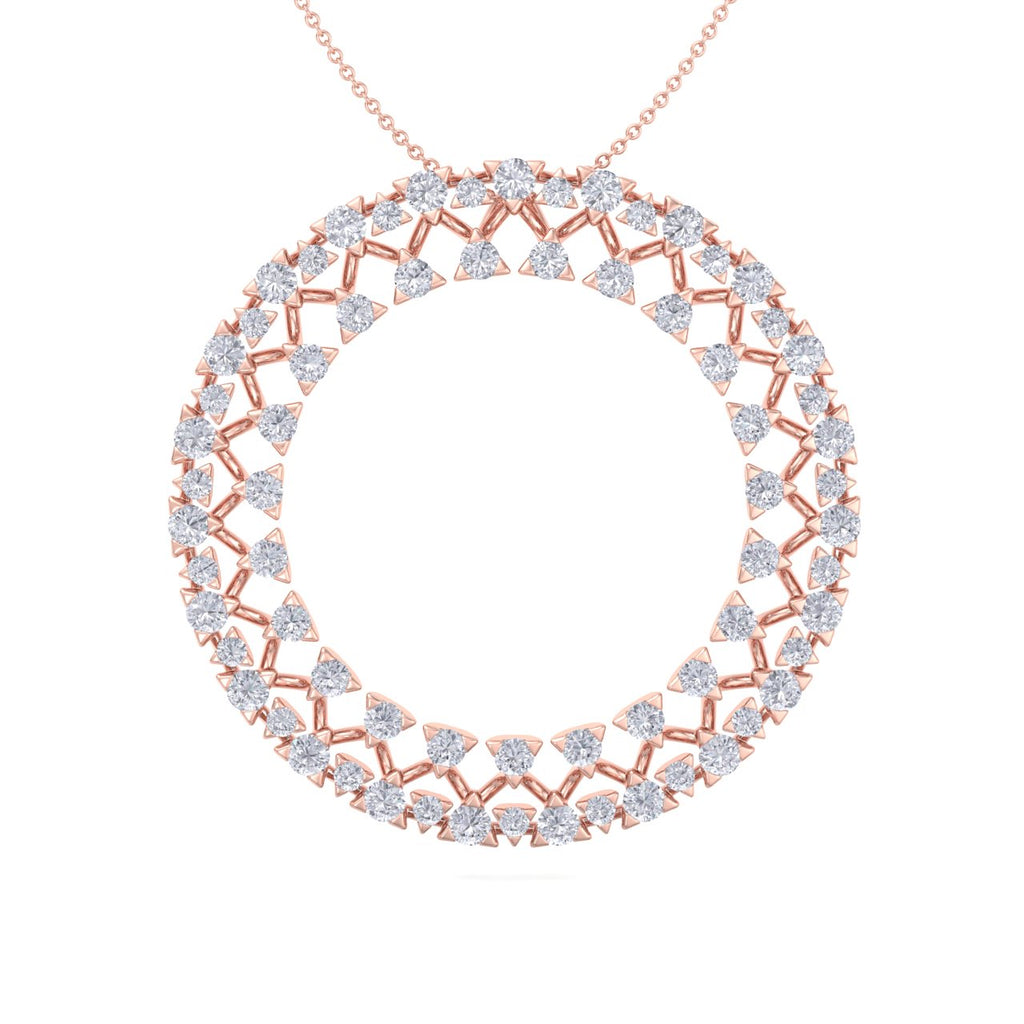 Circle pendant in rose gold with white diamonds of 3.28 ct in weight