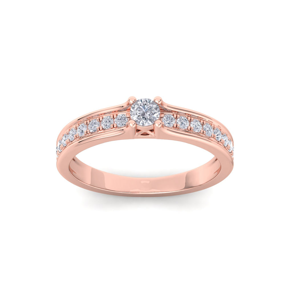 Petite solitaire engagement ring in rose gold with white diamonds of 0.30 ct in weight