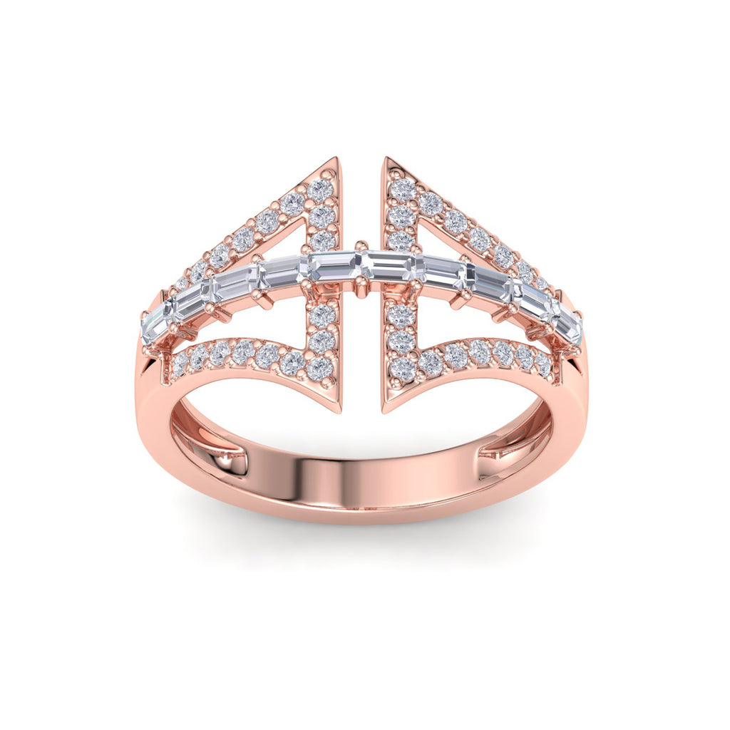 Statement ring in rose gold with white diamonds of 0.54 ct in weight