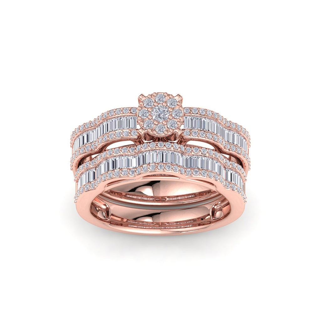 Wave bridal ring set in rose gold with white diamonds of 1.17 ct in weight