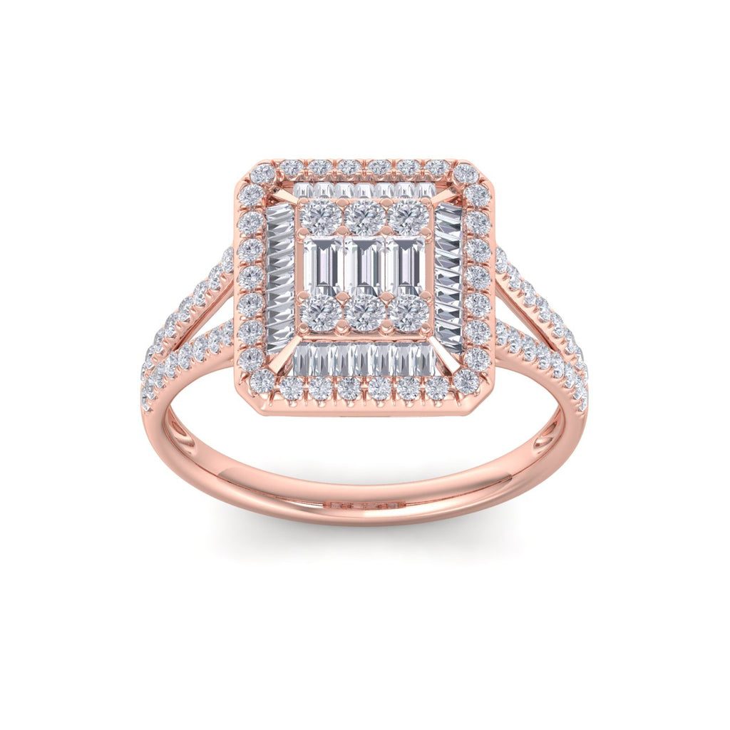 Square ring in rose gold with white diamonds of 0.65 ct in weight