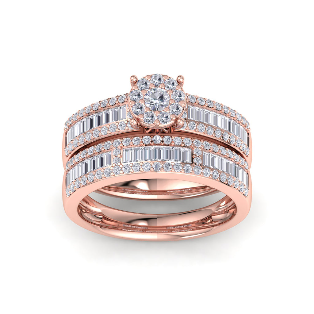 Bridal set in rose gold with white diamonds of 0.86 ct in weight