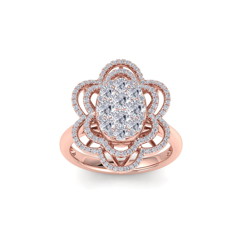 Oval flower shape ring in rose gold with white diamonds of 1.43 ct in weight