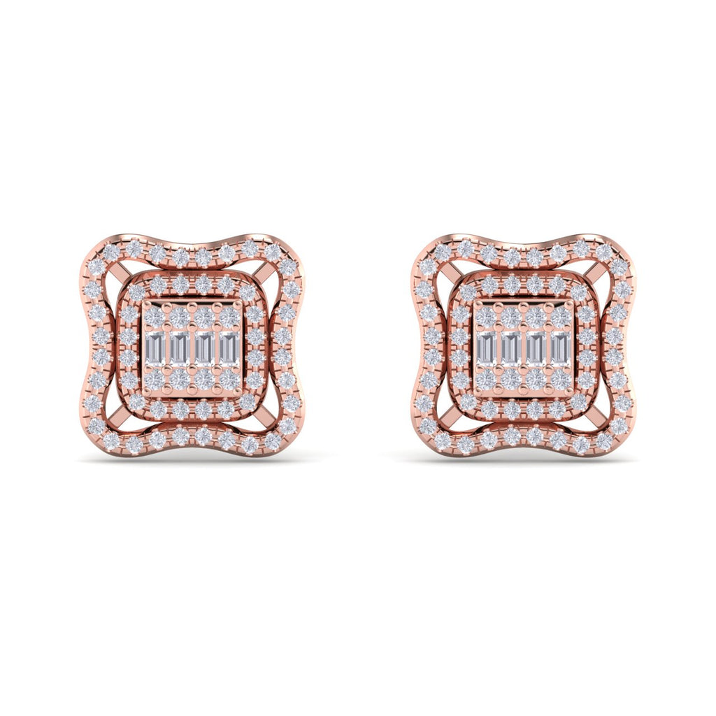 Stud earrings in rose gold with white diamonds of 0.67 ct in weight - HER DIAMONDS®