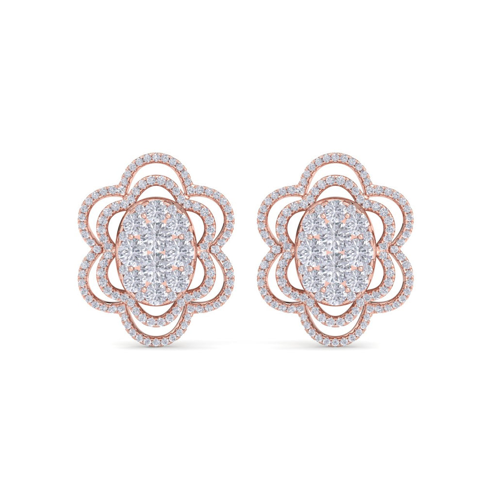 Flower-shaped earrings in rose gold with white diamonds of 2.67 ct in weight - HER DIAMONDS®