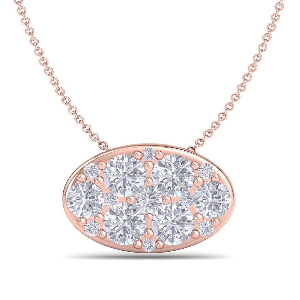 Oval shape pendant in rose gold with white diamonds of 0.80 ct in weight - HER DIAMONDS®