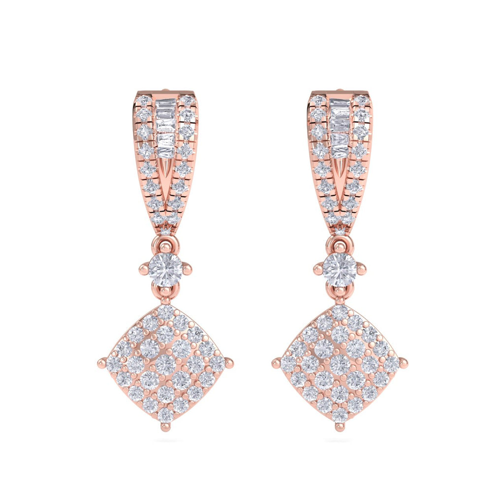 Drop earrings in rose gold with white diamonds of 0.90 ct in weight - HER DIAMONDS®